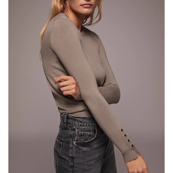 Zara // Grey Crewneck Sweater Gold Buttons Small